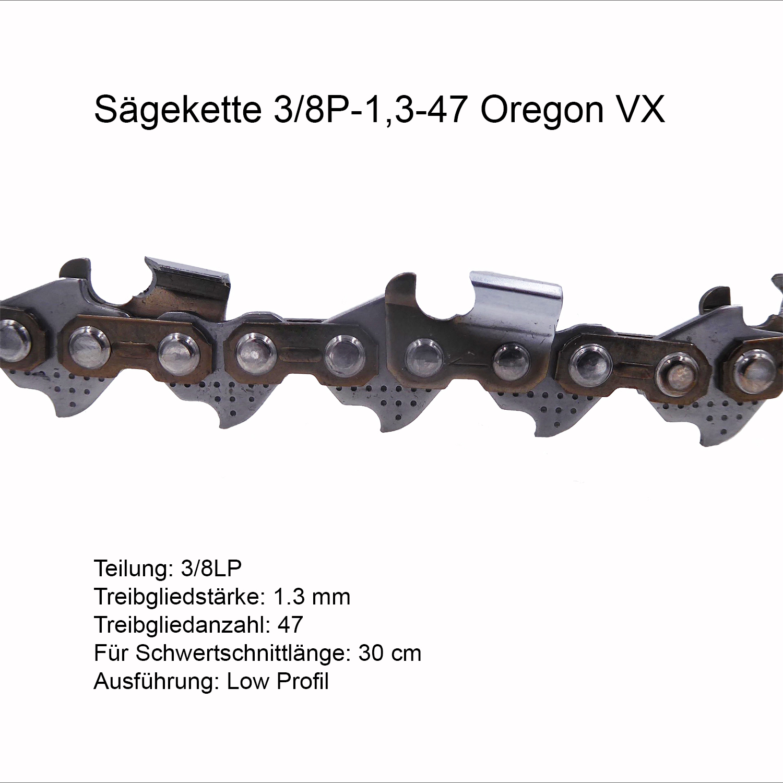 Oregon VX Sägekette 3//8P 1.3 mm 47 TG Ersatzkette