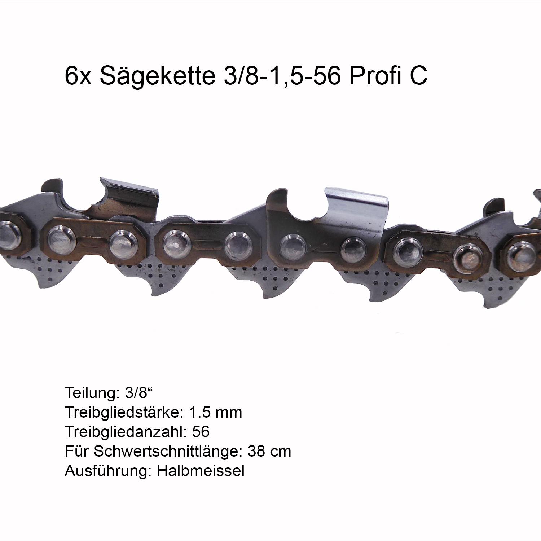 """Schwert 2 Ketten passend für Solo 638 40 cm 3//8/"""" 59 TG 1,5 mm Sägekette chain"""